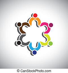 組, 鮮艷, 人們, 或者, 符號, 設計, 孩子