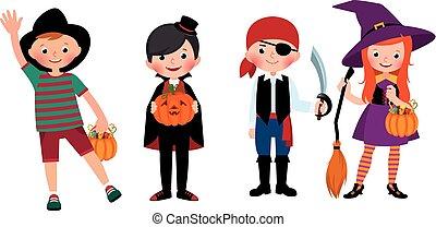 組, costumes., 万圣節, 插圖, 孩子, 矢量, 卡通