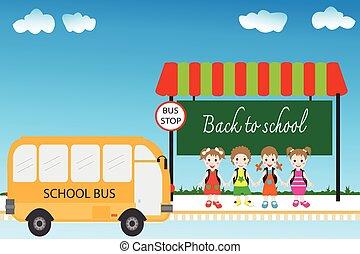 組, school., 學生, 公共汽車, 背, 停止, 孩子