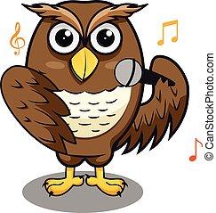 結合, 唱, 音樂運動員, 話筒, 貓頭鷹