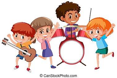 結合, 音樂, 玩, 四, 孩子