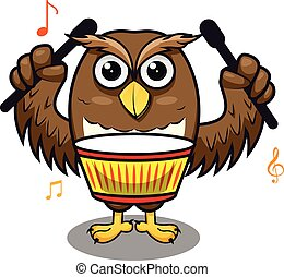 結合, 鼓, 演奏音樂, 表演者, 貓頭鷹