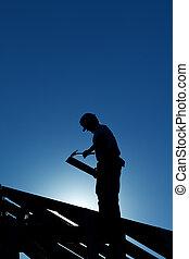 結构, 工人, backlight, 屋頂