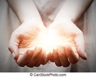 給, 婦女, 分享, 光, 年輕, 提供, 保護, hands.