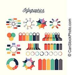 統計數字, 鮮艷, 圖象, 圖表, 集合, infographics