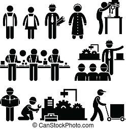 經理, 工人, 工廠, 工作