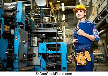 經理, 生產, 監督, 女性, 工廠