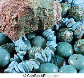 綠松石, 小珠, 岩石