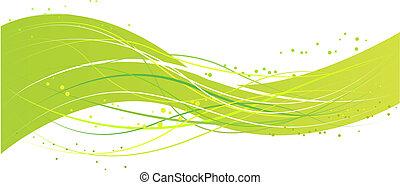 綠色的摘要, 設計, 波浪