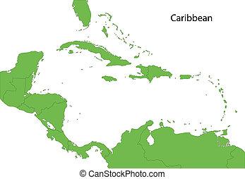 綠色, 加勒比海, 地圖