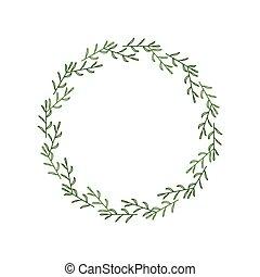 綠色, 外形, 標識語, 被隔离, 框架, 邀請, 做, farmhouse., 末梢, 白色, leaves., 背景, 花冠, 邊框, 心不在焉地亂寫亂畫, 裝飾, 矢量, 雅致, 插圖, 輪, 線性, style.