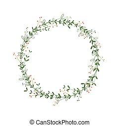 綠色, 末梢, 標識語, wreath., 邀請, 矢量, 時髦, 樣板, 插圖, 設計, 邊框, 最簡單派藝術家, 離開, laconic, 橙, greetings., berries., style., 輪, 框架