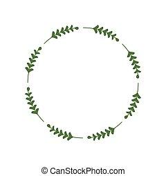 綠色, 標識語, twigs., 葉子, 矢量, 樣板, 輪, 最簡單派藝術家, 插圖, leaves., laconic, 時髦, 邊框, 環繞, wreath., 框架, 棍, 邀請, 設計, greetings.