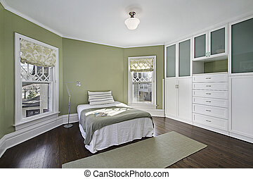 綠色, 牆壁, 掌握, 寢室