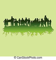 綠色, 矢量, 黑色半面畫像, 插圖, 人們
