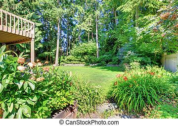 綠色, flowers., 院子, 背, 門廊