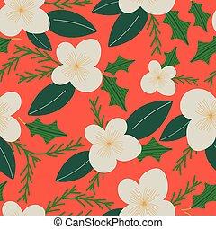 綠葉, seamless, 紅的珊瑚, florals, 聖誕節, 奶油, design., 圖案, 背景