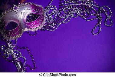 維尼斯人, 背景, 紫色, 或者, mardi-gras, 面罩
