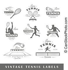 網球, 標籤, 集合, 葡萄酒