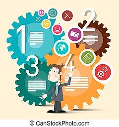 網路商業, 鮮艷, 圖象, 嵌齒輪, 矢量, 環繞, 人