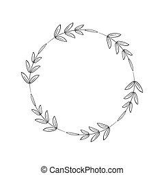 線性, 花冠, 插圖, 設計, 矢量, style., leaves., 末梢, wedding., 標識語, 框架, 邀請, 裝潢的元素, 植物, 輪, 裝飾, 邊框, 簡單, 假期