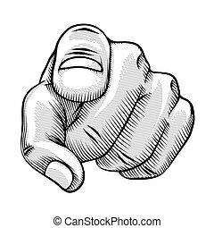 線描, 手指指, retro