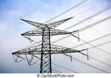 線, 在頂上, 桿, 能力公用設施