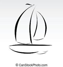 線, 小船, 插圖