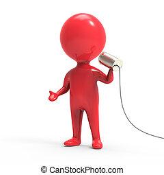 線, 罐頭能, 談話, 人, 紅色, 3d