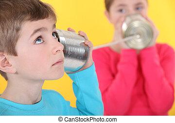 線, 通訊, 二, 罐頭能, 孩子