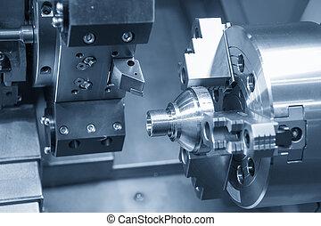 線, 金屬, 車床, 機器, part., cnc, 切, 軸