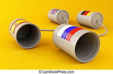 線, 電話, 錫, 連線, 罐頭, 旗, 3d