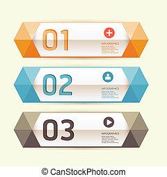 編號, 是, 圖表, 使用, 布局, 現代, 線, 水平, /, 網站, 旗幟, 矢量, 設計, 罐頭, 樣板, infographics, cutout, 或者
