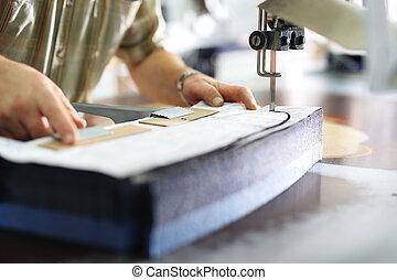 織品, 切, work., 縫紉