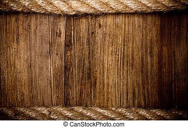 繩子, 木頭, 風化, 背景