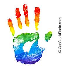 繪, 彩虹, 形狀, 手