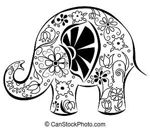 繪, flowers., 黑色半面畫像, 大象