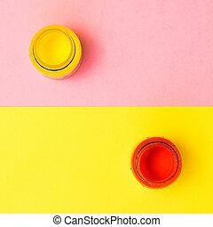罐子, 背景。, 創造性, 粉紅色, 紅的油漆, 黃色, kit.