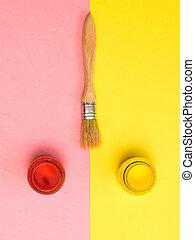 罐子, 背景。, 粉紅色, 紅的刷子, 畫, 黃色, 創造性, kit.