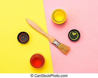 罐子, 背景。, two-color, 創造性, 紅的油漆, 黃色, 刷子, 打開, kit.