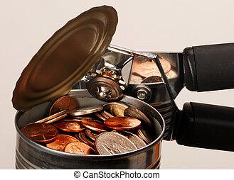 罐頭, 錢。