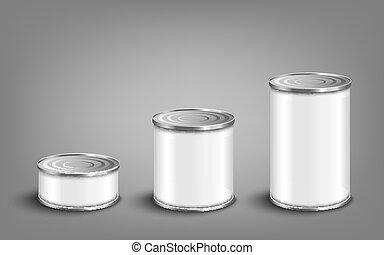 罐頭, 集合, 錫, 各種各樣, 大小, 插圖, 現實, 食物, 矢量, isolated., mockup