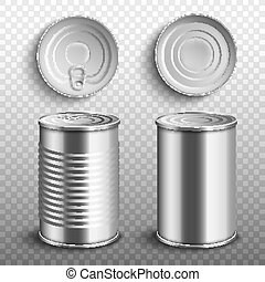 罐頭, 集合, 3d, 錫, 插圖, 現實, 頂部, 食物, 矢量, isolated., 側視圖