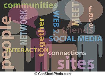 网絡, 人們, 媒介, 通訊, 演說, 社會