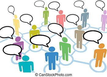 网絡, 人們, 通訊, 連接, 演說, 社會, 談話