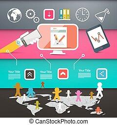 网, 布局, 鮮艷, 人們, 圖象, 地圖背景, 報紙, 世界, 技術, 頁