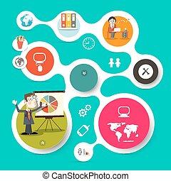 网, 矢量, 布局, 商務圖標, -, 紙, infographic, retro, 樣板, 環繞, 技術, 人
