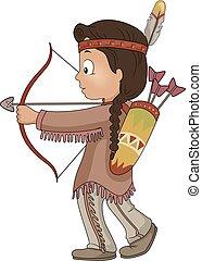 美國人, 插圖, 箭, 男孩, 孩子, 弓, 印第安語