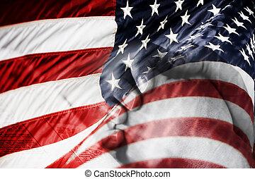 美國人, 祈禱, 旗, 手