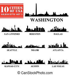 美國, 城市, 黑色半面畫像, 2, 集合